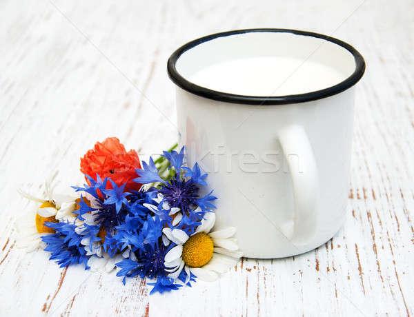 Кубок молоко Полевые цветы старые природы Сток-фото © almaje