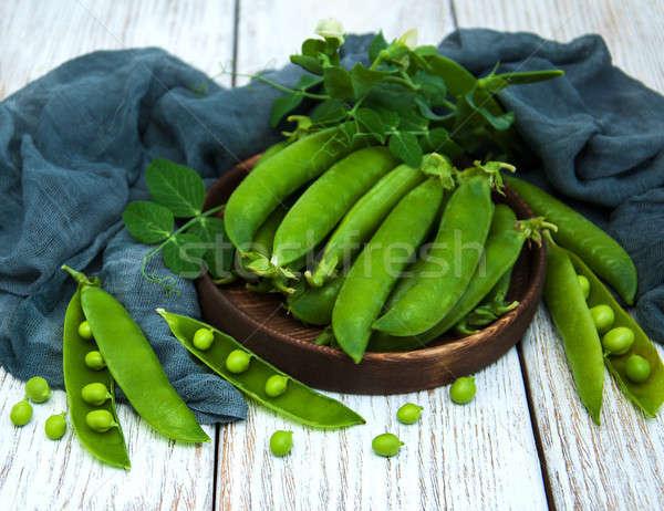 緑 エンドウ 表 素朴な 白 木製 ストックフォト © almaje