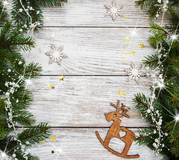 Stock fotó: Karácsony · ünnep · fa · dekoráció · fa · asztal · fa