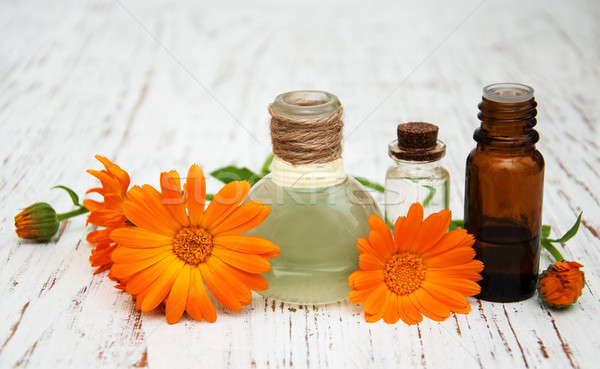 flower of calendula officinalis and oils Stock photo © almaje
