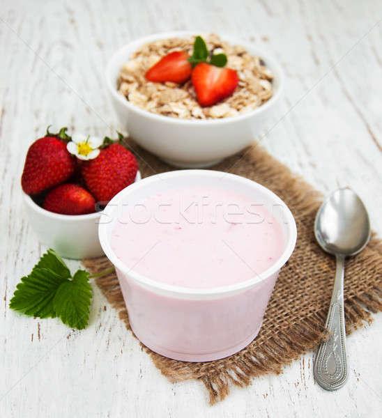 yogurt and muesli with berries Stock photo © almaje
