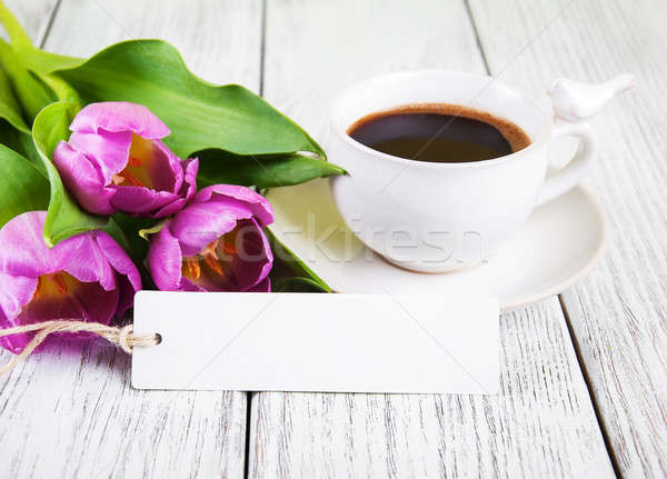 tulips bouquet blank greeting card and coffee cup Stock photo © almaje
