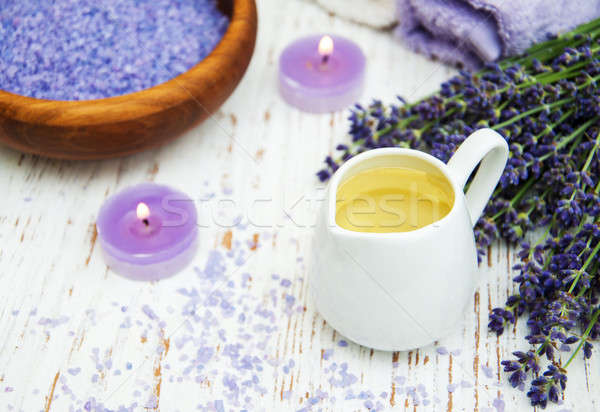 Lavender, sea salt and candle Stock photo © almaje