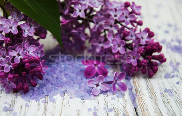 Lilac flowers with sea salt Stock photo © almaje
