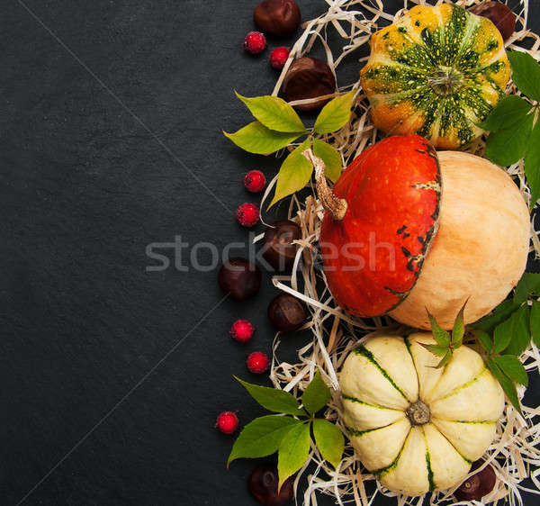 Pumpkins with autumn leaves Stock photo © almaje