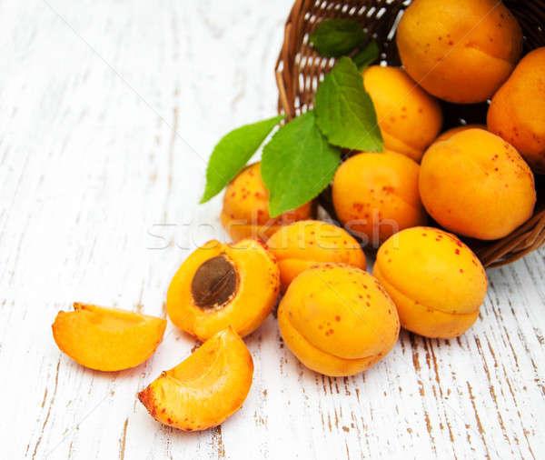 Basket with apricots Stock photo © almaje
