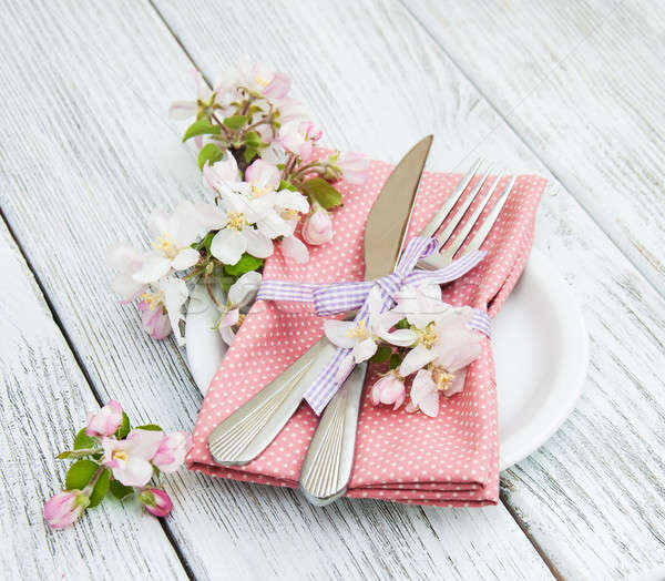 Stock photo: table setting with spring blossom