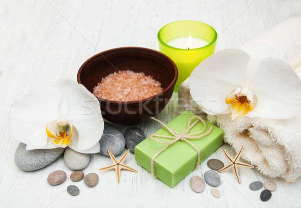 Orchideák gyertya törölköző kézzel készített szappan öreg Stock fotó © almaje