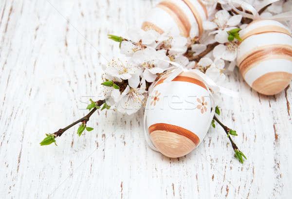 Stok fotoğraf: Paskalya · yumurtası · kiraz · çiçek · eski · ahşap · Paskalya