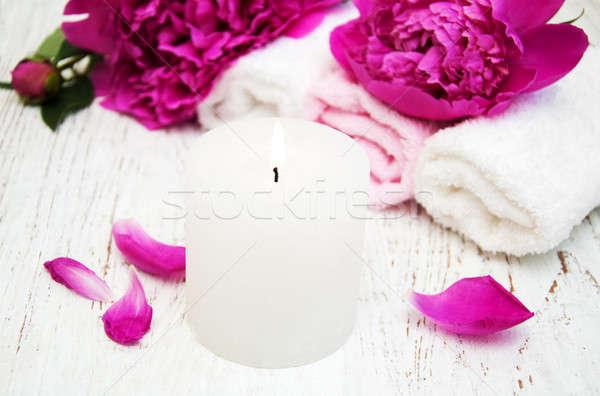 Fiori massaggio asciugamani legno fiore natura Foto d'archivio © almaje