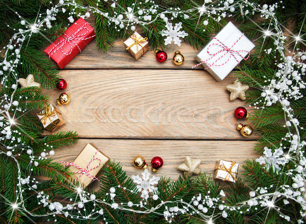 Christmas vakantie boom decoratie houten tafel hout Stockfoto © almaje