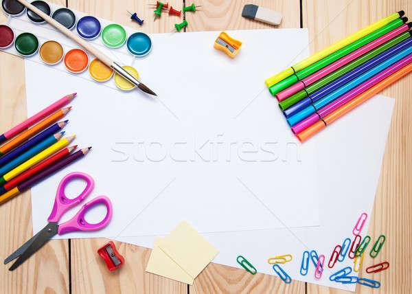 Schoolbenodigdheden witte papier houten hout onderwijs Stockfoto © almaje