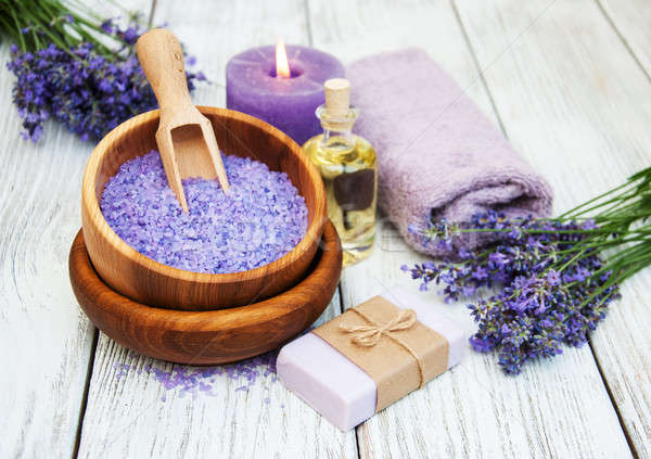 Lavanta spa ürünleri ahşap çiçek vücut Stok fotoğraf © almaje