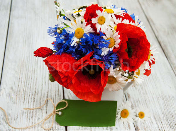 букет Полевые цветы Ромашки лист фон Сток-фото © almaje