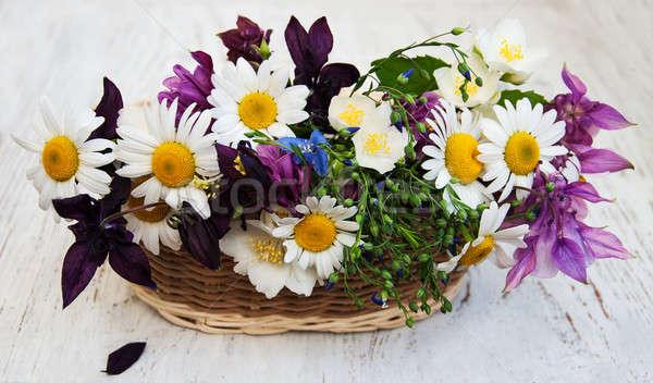 Flores silvestres cesta edad flores naturaleza Foto stock © almaje