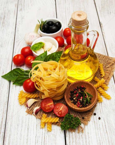 итальянской кухни Ингредиенты старые таблице нефть Сток-фото © almaje