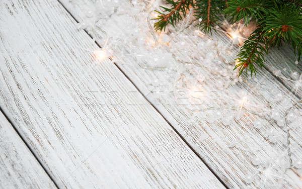 Weihnachtsbaum Zweig Lichter Holz Holz Design Stock foto © almaje