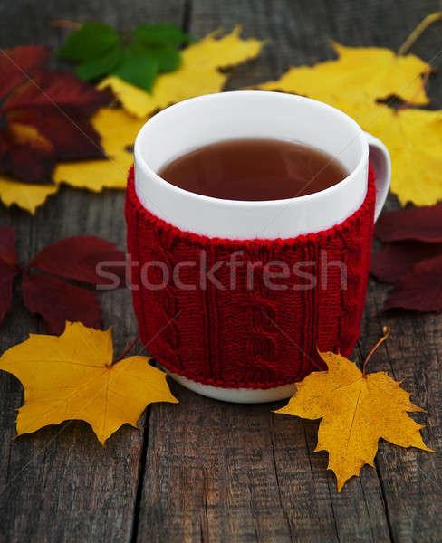 Кубок чай старые деревянный стол Сток-фото © almaje