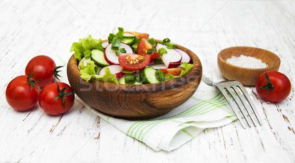 春 サラダ トマト 胡瓜 大根 木製 ストックフォト © almaje