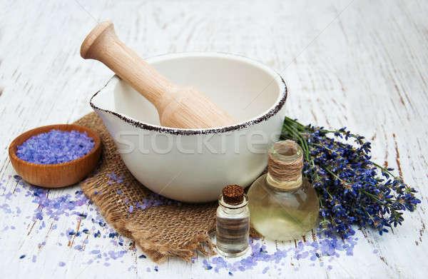 Levendula olaj fürdősó friss levendula öreg fából készült Stock fotó © almaje