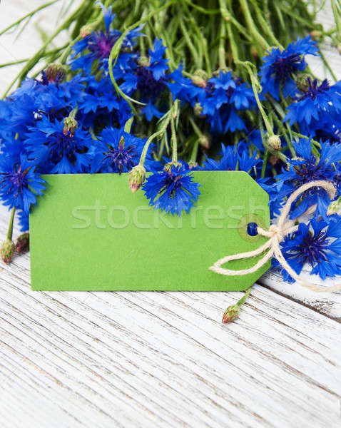 Stock photo: paper tag with  cornflowers