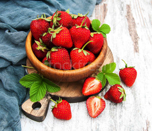 Bowl with fresh strawberries Stock photo © almaje