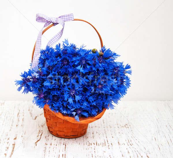 Niebieski koszyka starych biały kwiaty Zdjęcia stock © almaje