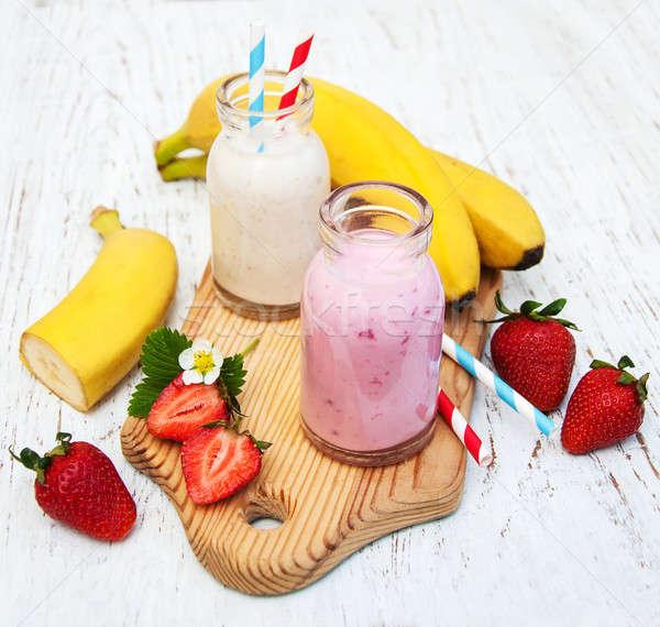 Muz çilek yoğurt ahşap doğa meyve Stok fotoğraf © almaje