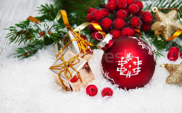 Stock photo: christmas decorations in snow