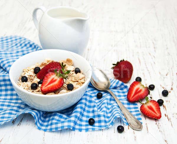 Muesli with strawberries Stock photo © almaje