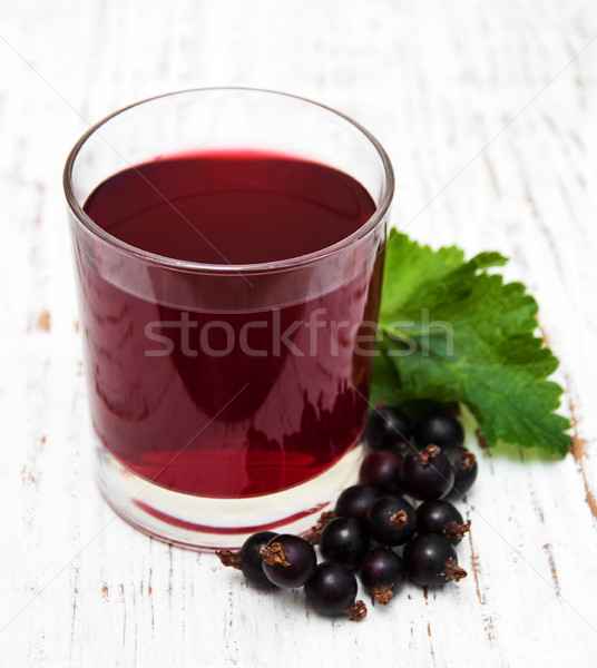 Stock photo: Glass of blackcurrant lemonade