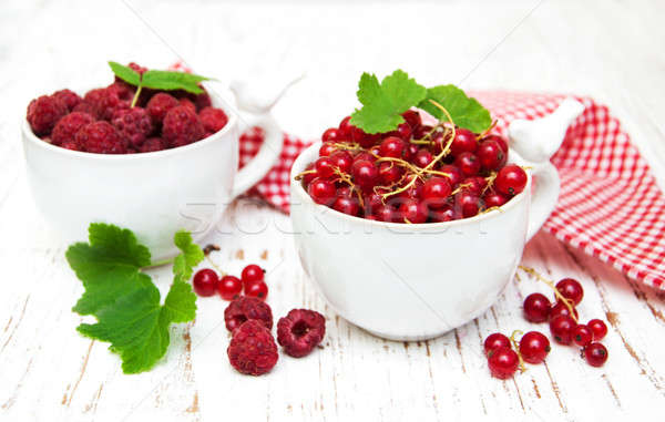fresh red currant and raspberries Stock photo © almaje