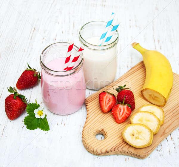 Bananas and strawberries with yogurt Stock photo © almaje