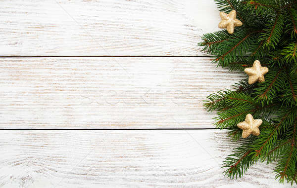 Christmas wakacje drzewo dekoracji drewniany stół drewna Zdjęcia stock © almaje