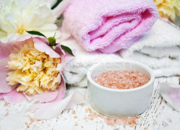 Peony flowers, towel and salt Stock photo © almaje