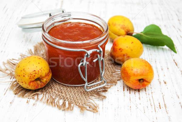 Stock photo: Apricots jam