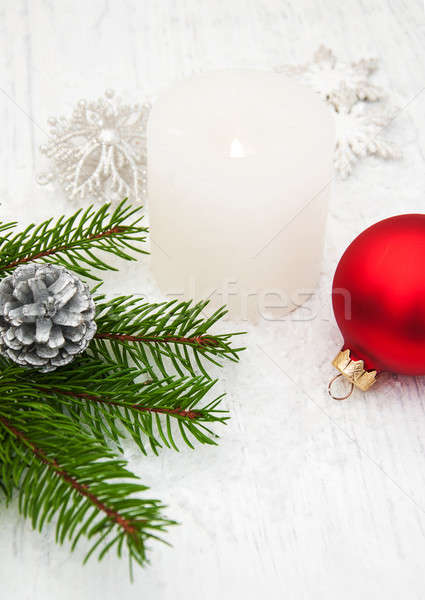candle and pine branches Stock photo © almaje