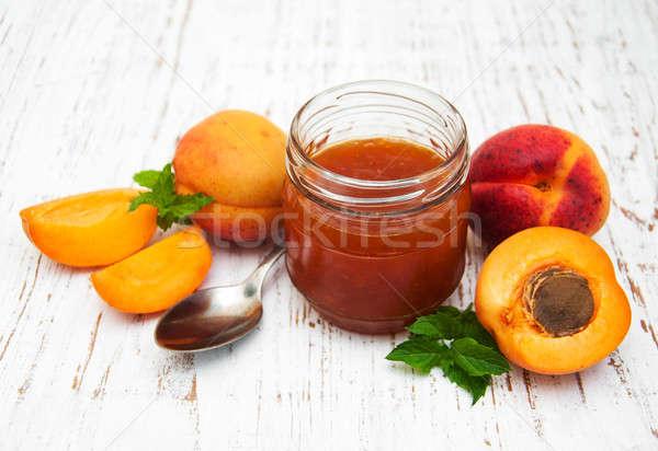 Lekvár öreg fából készült levél gyümölcs háttér Stock fotó © almaje