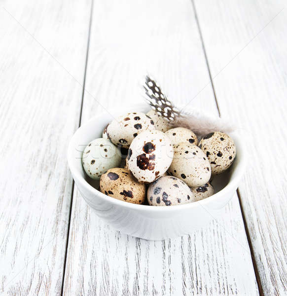 bowl with fresh quail eggs Stock photo © almaje