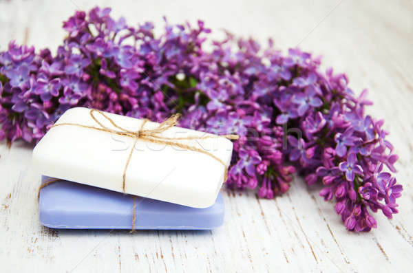 Natural soap and lilac flowers Stock photo © almaje