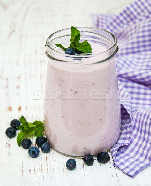 Stockfoto: Vers · fruit · yoghurt · bosbessen · houten · blad · vruchten