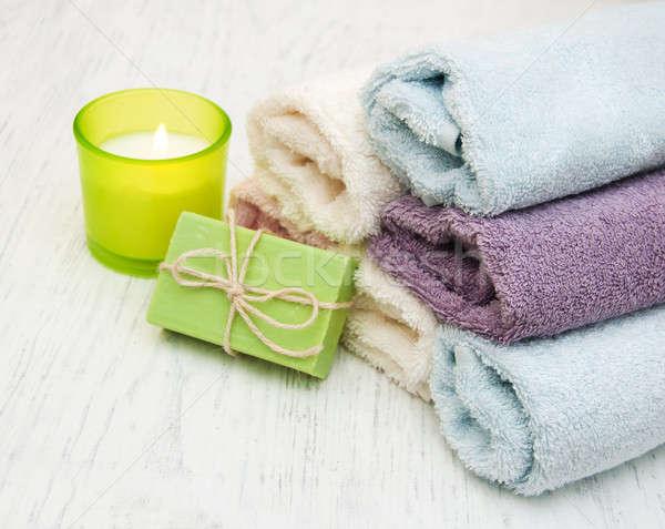 Sabun mum eski ahşap çiçek Stok fotoğraf © almaje