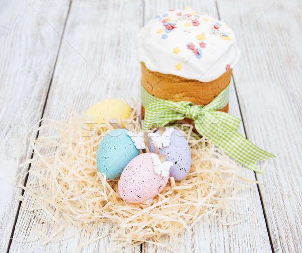 Húsvét kenyér tojások tavasz virág asztal Stock fotó © almaje