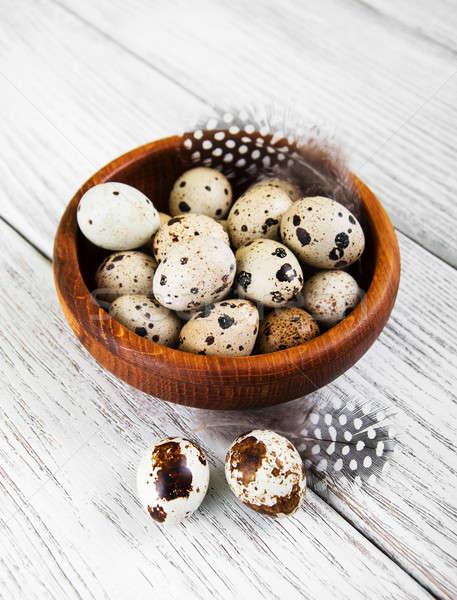bowl with fresh quail eggs Stock photo © almaje