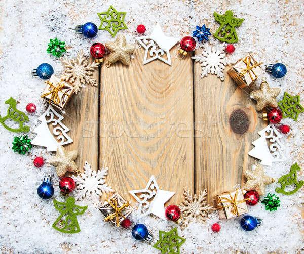Christmas wakacje dekoracji drewniany stół tekstury polu Zdjęcia stock © almaje