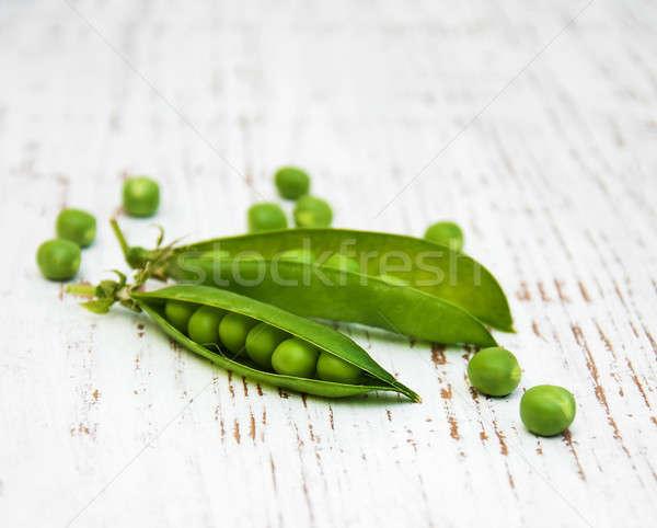 Vers erwten houten voedsel tuin tabel Stockfoto © almaje