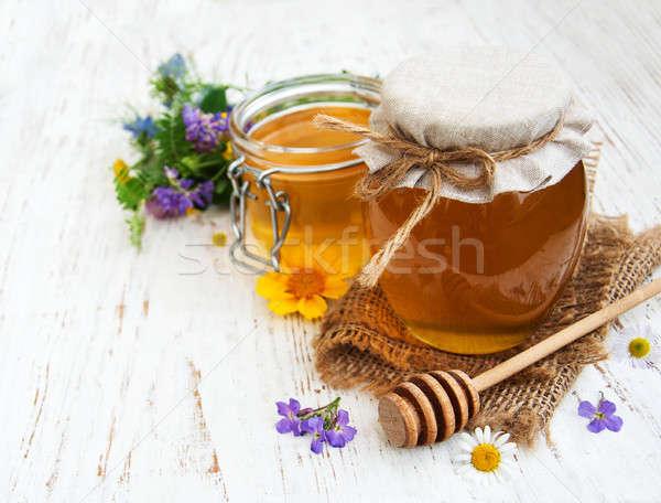 Mel flores silvestres comida madeira saúde Foto stock © almaje