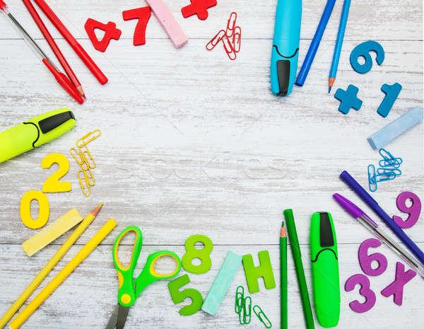 Okula geri okul malzemeleri tablo okul kalem öğrenci Stok fotoğraf © almaje