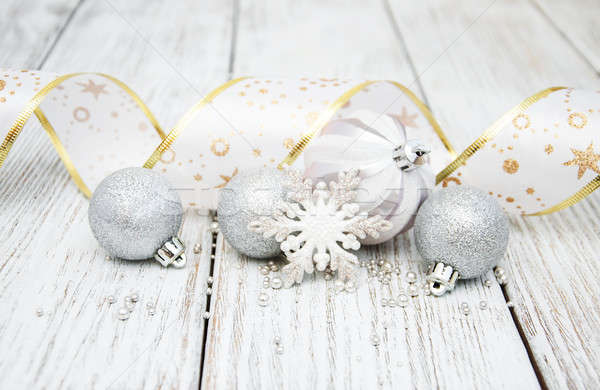 Stock photo: decoration of silver christmas baubles