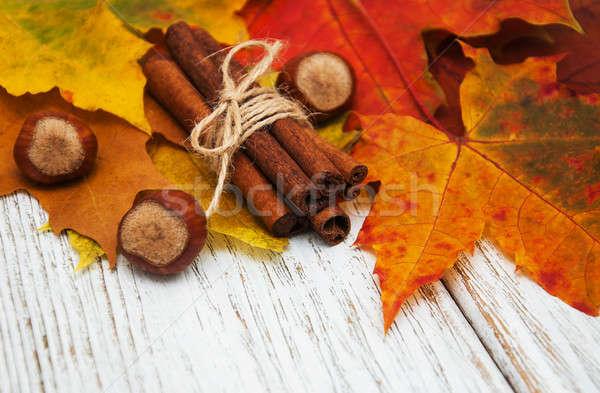 őszi levelek fahéj mogyoró fából készült háttér asztal Stock fotó © almaje